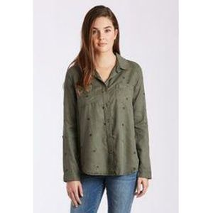 Dear John Olive Star Reese Long Sleeve Star Top- L